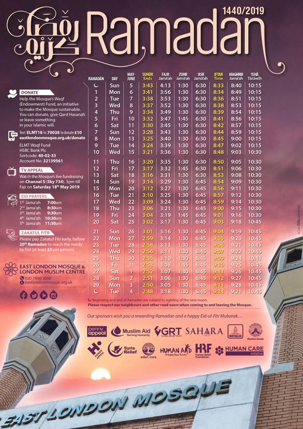 Ramadan Timetable 2019 now available | East London Mosque