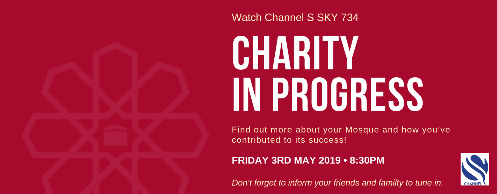 Friday 3 May 2019 – live tonight on Channel S!